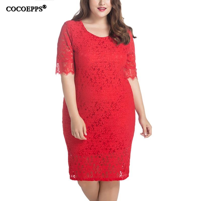 2018 элегантное Кружевное облегающее платье 5XL 6XL плюс размер женское миди платье большого размера красное белое вечернее платье vestidos femininos