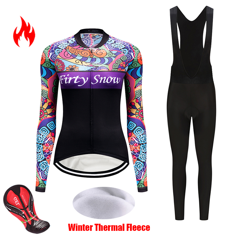 Pro cycling clothing winter women's set thermal fleece bicycle jersey kit female triathlon suit bike clothes uniform mtb maillot