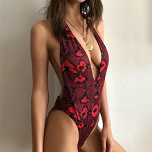 Red Snake Print Thong One Piece Swimsuit 2019 Trikini Backless High Cut Bodysuit Swimwear Women Push Up Monokini Bathing Suit ' 2017 ladies retro sexy monokini high cut trikini swim wear bathing suit bodysuit thong swimwear women one piece swimsuit