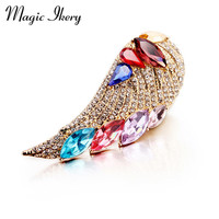 New 2015 18K Rose Gold Plated Zircon Crystal Luxury Angel Wing Brooches Wholesales Fashion Jewelry For