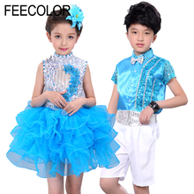 FEECOLOR Kids Jazz costumes For girl boy dance Suit glitter sequins modern Wear Performance Party Clothes
