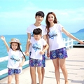 Free Shipping Summer New family matching clothing outfits Holiday coral print mother son daughter father sets t shirt Pants