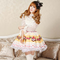 Amarillo cremoso Lindo Niñas Kawaii Lolita Dulce Princesa Faldas Faldas de Verano Original Diseño Copa de pastel de Caramelo Impreso Faldas Femeninas