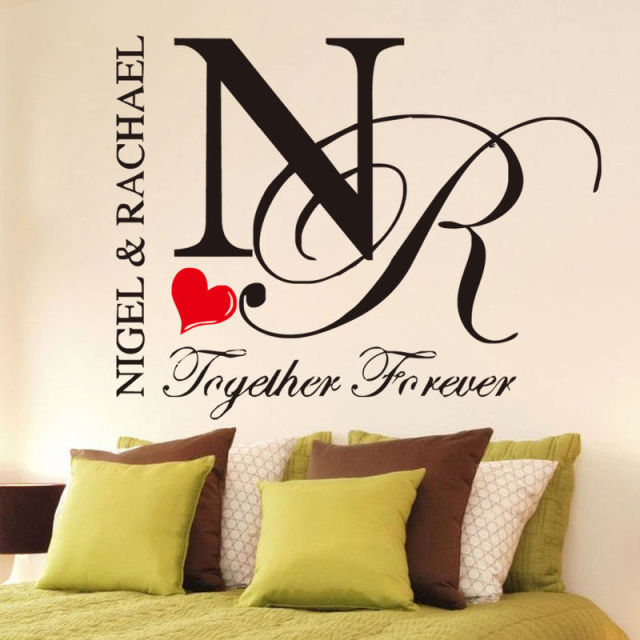 Quote together forever romantic room decal custom lovers names wall sticker