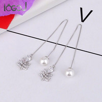 IOGOU Pure 925 Sterling Silver Drop Earring Simulated Pearl Tiny Leaf Earrings Yung Lady Party Show Gift Dangle Silver Earring