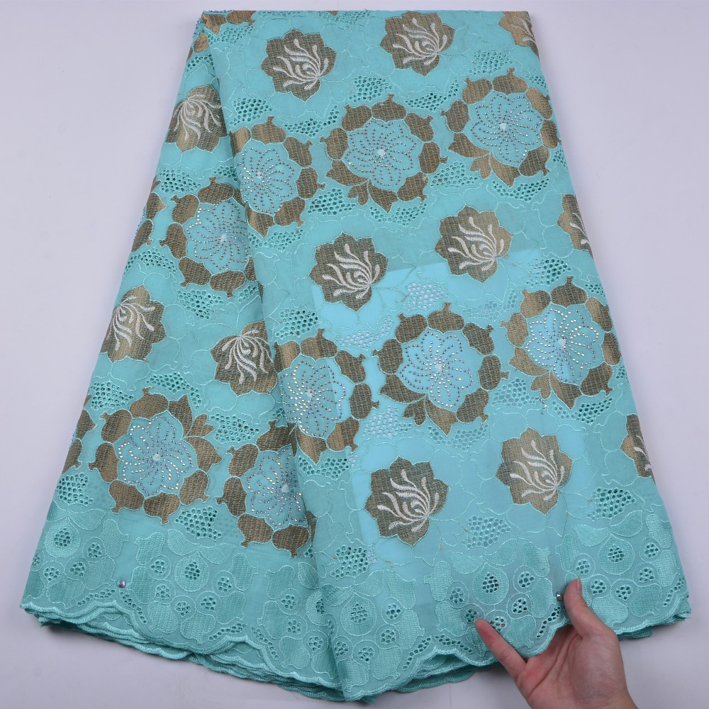 Light Cyan Nigerian Lace fabrics 2018 African Swiss Voile Lace High Quality Swiss Voile Lace in