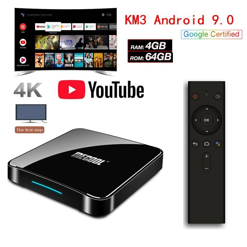 Android 9.0 KM3 boîtier de smart tv Amlogic S905X2 bt4.1 4 GB 64 GB H.265 4 K décodeur Android KM3 Set Top Box contrôle vocal box iptv Soutien