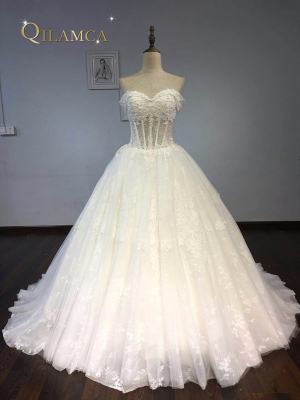 Real Photo 2019 New Arrive Luxury Sweep Train Ball Gown Wedding Dress Gorgeous Full Beaded Vestido De Noiva Plus Size
