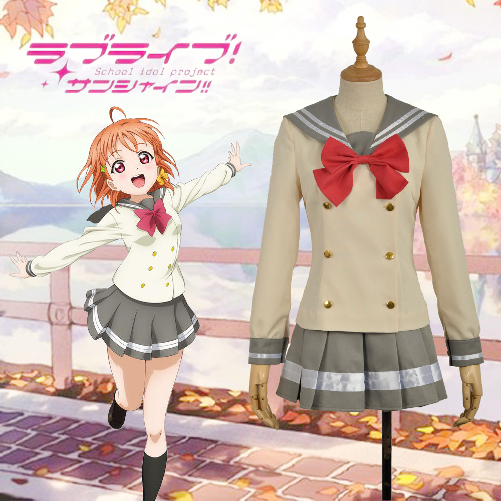 LoveLive Love Live Aqours Takami Chika Sailor School Uniform Cosplay Costume