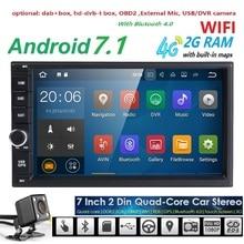 WI-FI Android7.1 Универсальный двойной 2 DIN dvd-плеер Радио GPS навигации в тире стерео видео Мультимедиа Car Audio FM головного устройства