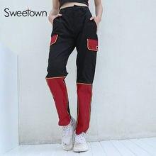 Sweetown Harajuku Pantalon Cargo Streetwear Femmes Noir Street Style  Pantalon Femme Tôlé Spliced Haute Taille Jogger pantalons d. 16191a899692