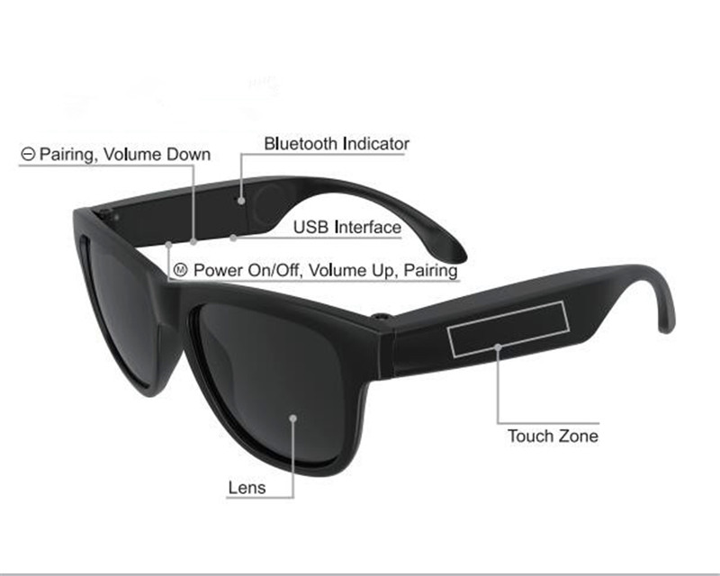 bluetooth wireless bone conduction sunglasses active earphones music eye wear with microphone headphones eye wear headset for tv bone conduction earphones headset over ear headphones active noise cancelling hifi neckband for music listening to the phone
