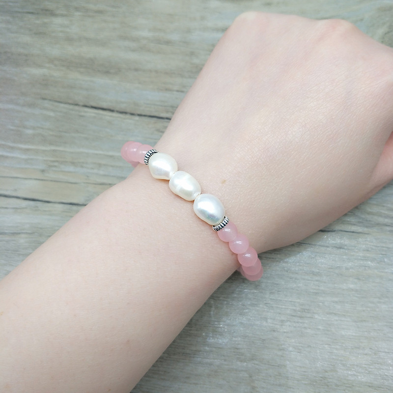 Youga 6mm Rose stone Natural Stone Beads and Real Pearl Beaded Bracelets Lemon stone and Tassel Crafted Bohemian Bracelets Women in Strand Bracelets from Jewelry Accessories
