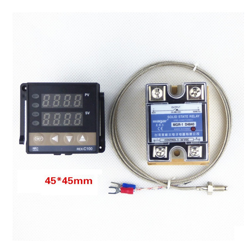 10PCS/LOT PID Temperature Controller Thermostat REX-C100 with thermocouple K, MGR-1 D4840 Solid state relay 40A