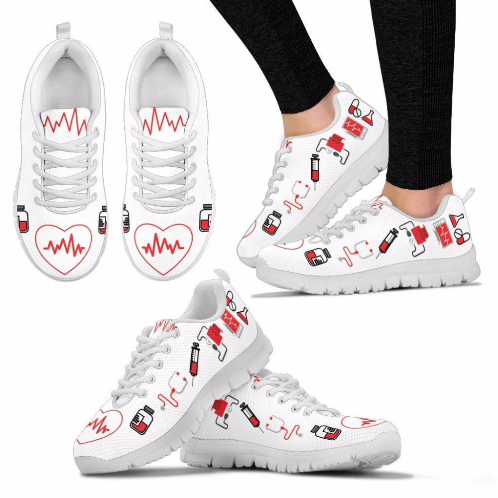 doginthehole Casual Flats Mujer Enfermera Corazón Impreso de Las - Zapatos de mujer