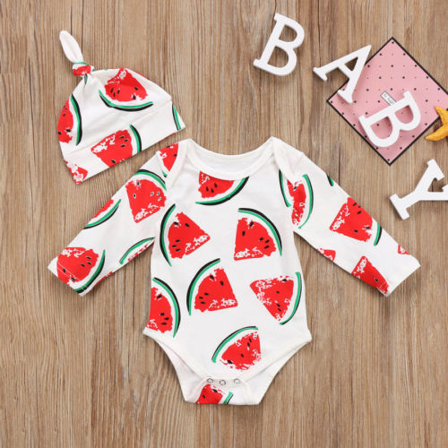 New Fashion Newborn Baby Boys Girls Romper Long Sleeve Print Watermelon Jumpsuit Hat Outfit Set Clothes 0-2T
