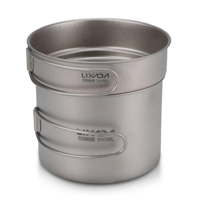 Lixada Ultraleve de Titânio Cookset Acampamento Ao Ar Livre Conjunto de Panelas 1100 ml e 350 ml Pot Fry Pan com Alças Dobráveis