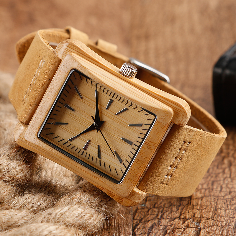 Creative Rectangle Dial Wood Watch Natural Handmade Light Bamboo Fashion Men Women Casual Quartz Wristwatch Genuine Leather Gift 3