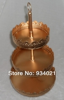 3 Tier Gold Round Iron Cake Stand For Cup Cake, Cup Cake Stand, Hanging Cupcake Display