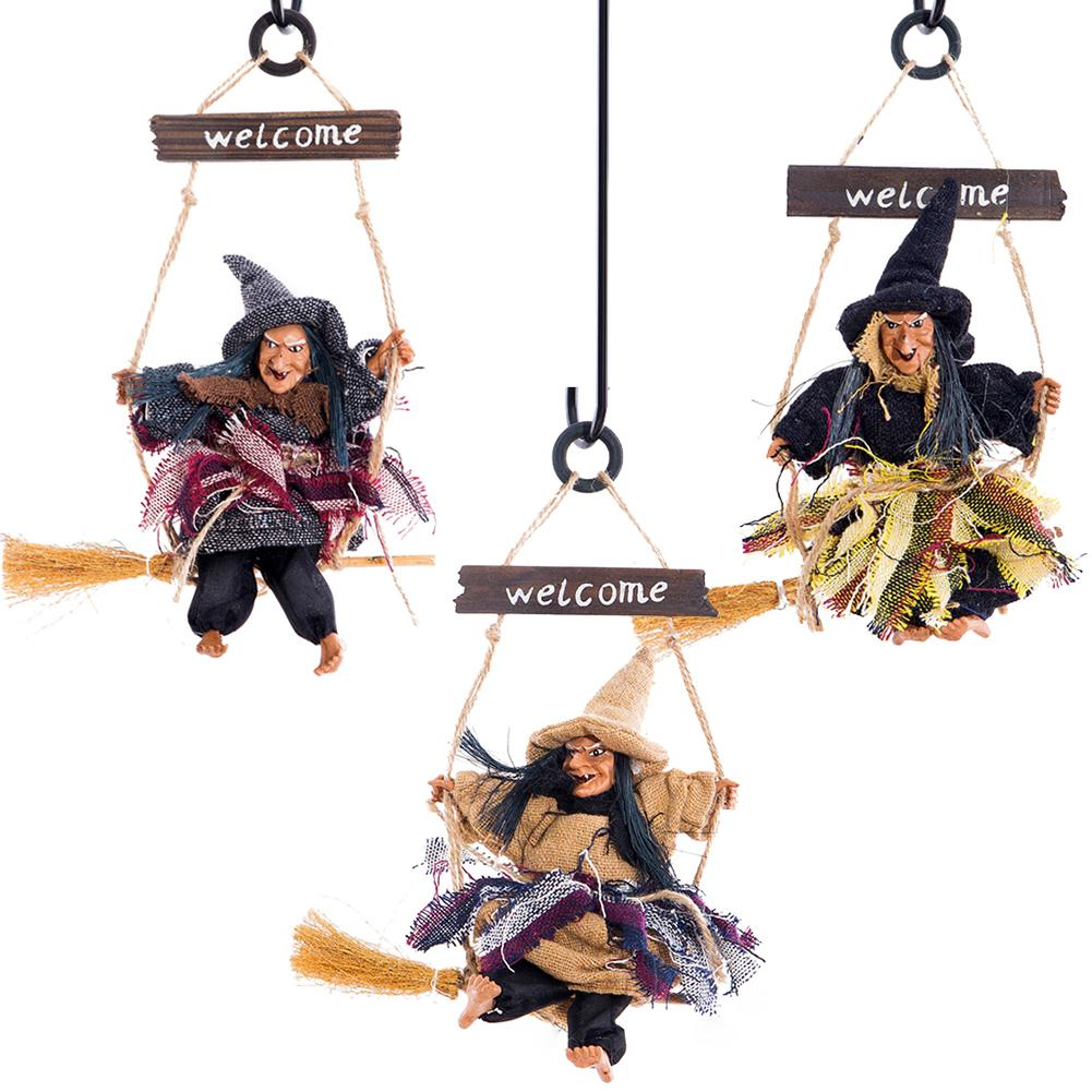 2020 Halloween Hanging Doll Decoration Ghost Witch Horror Scary Hanging Ghost Flying Witch Pendant Festival Bar Decoration