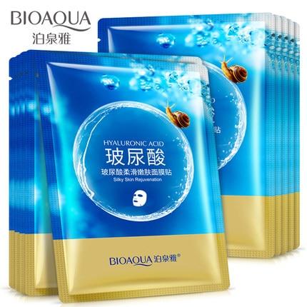 10 teile/los BIOAQUA Hyaluronsäure Schnecke Säure Tiefen Säure Maske Feuchtigkeitsmaske Anti Aging Face Feuchtigkeitsspendende Hautpflege