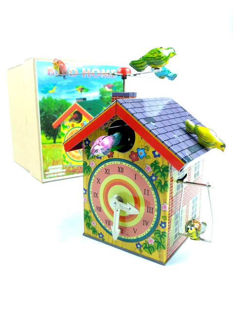 Fuera de impresión Retro MS485 pájaro casa Estaño clockwork toy Colección de Maquinaria