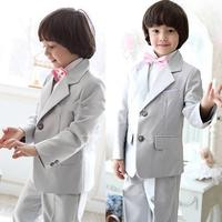 New Silver Gray Grey Boy's Formal Wear Boy's Wedding Suits Two Button Dress Suits for Boys (Jacket+Pants+Bow Tie)