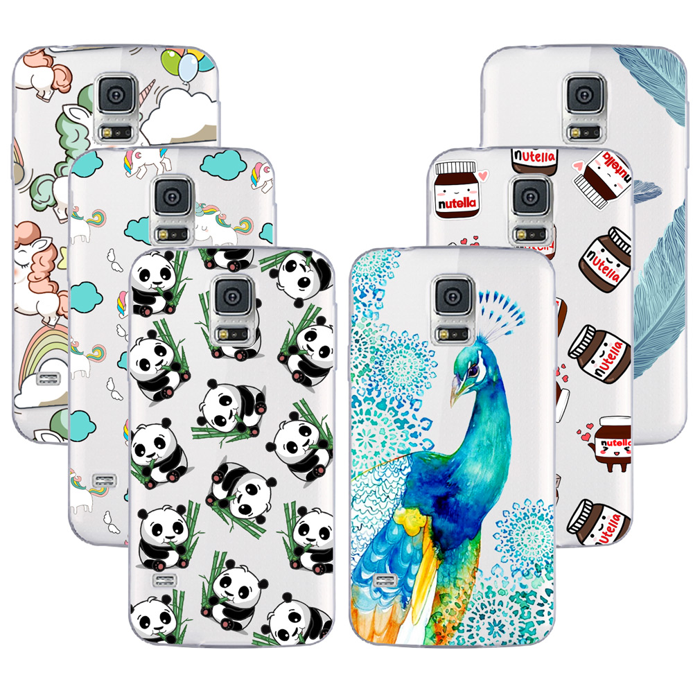 sale retailer e99d4 20f12 US $1.49 25% OFF|Fashion Soft TPU Case For Samsung Galaxy S5 Mini  Transparent Soft Silicone Cover Phone Cases For Galaxy S5 Mini G800-in  Fitted Cases ...