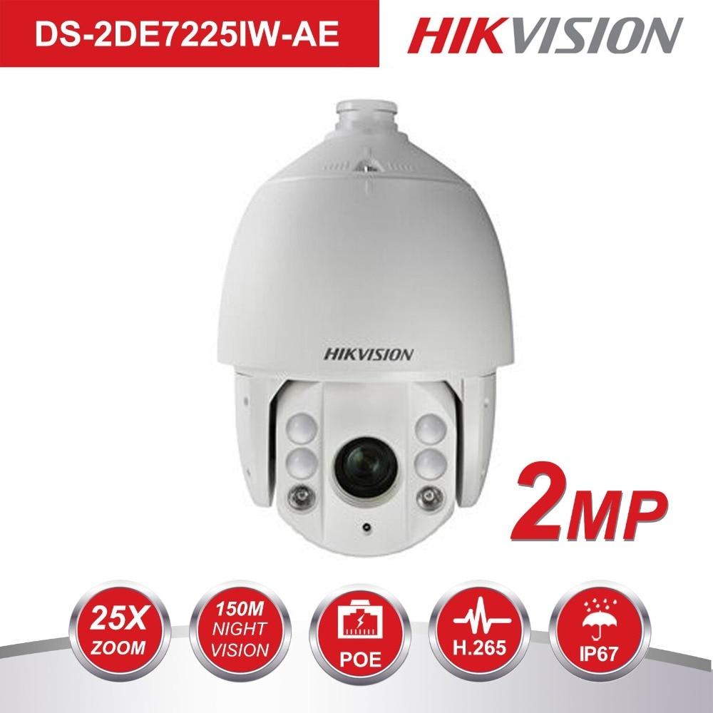 Hikvision PTZ Macchina Fotografica del IP Esterna DS-2DE7225IW-AE 2 Megapixel 25X Zoom Ottico Velocità Della Cupola di IR Della Macchina Fotografica H.265 + Auto Tracking Supporto