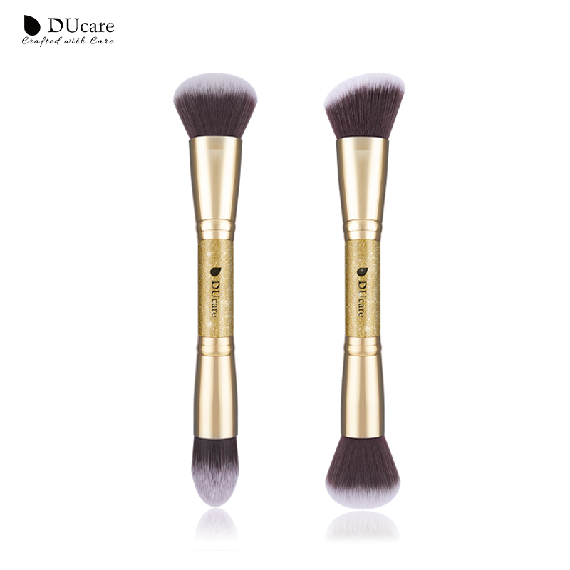 DUcare 2 PCS Double-ended Makeup Brushes Foundation Powder Contour Brush Face Make Up Brush Cosmetic Tools Kit 4 pcs makeup brush 6 colors contour palette brush face powder cosmetic kit wholesale high quality
