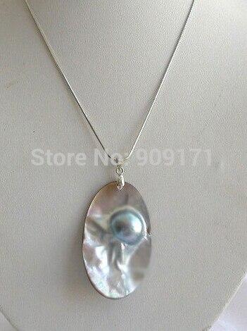 LIVRAISON GRATUITE >>>@@> &>>> superbe grand 55X32mm baroque gris du sud mer mabe perle collier Pendentif