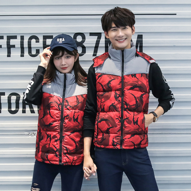 2016 Camouflage vest male fashion waistcoat lovers down cotton slim with a hood men and women outerwear Vest 1PCS