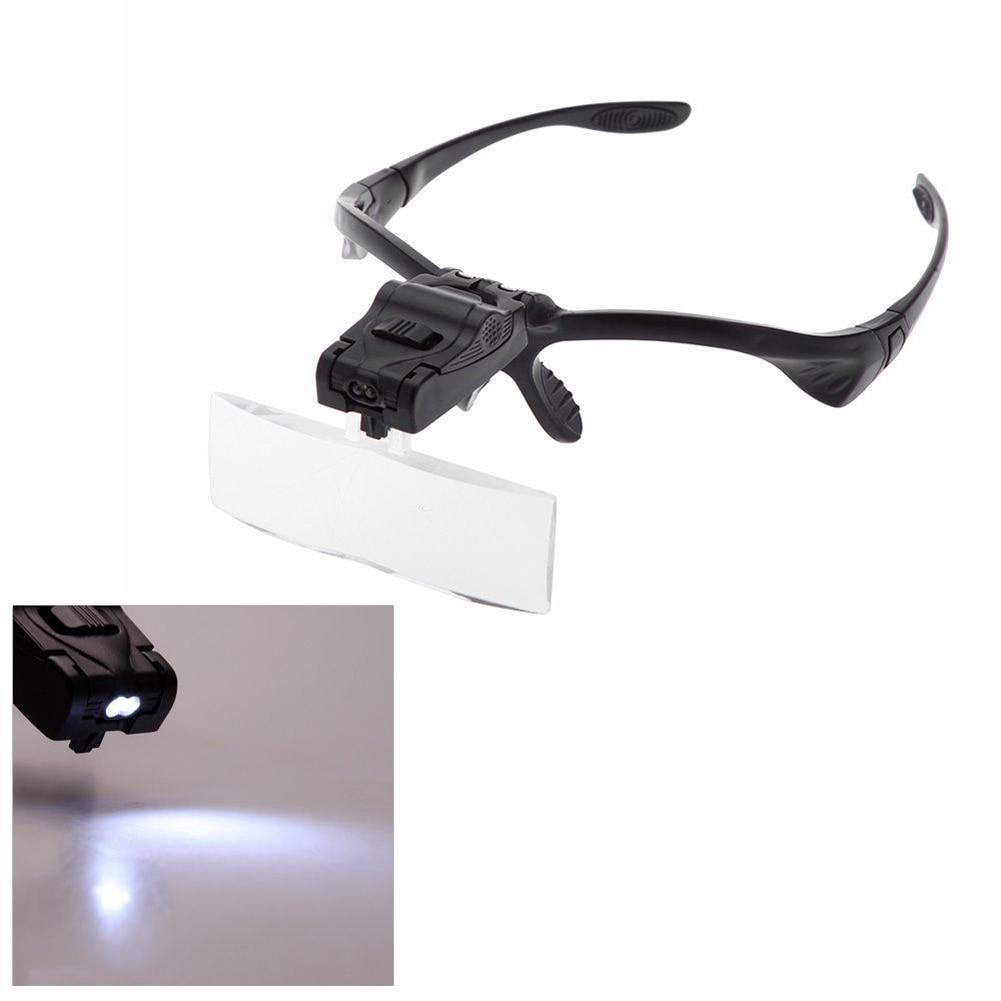 цена на Headband Magnifying Glass Eye Repair Magnifier 2 LED Light 1.0/1.5/2.0/2.5/3.5X Glasses Loupe Optical Lens jeweler watchmaker