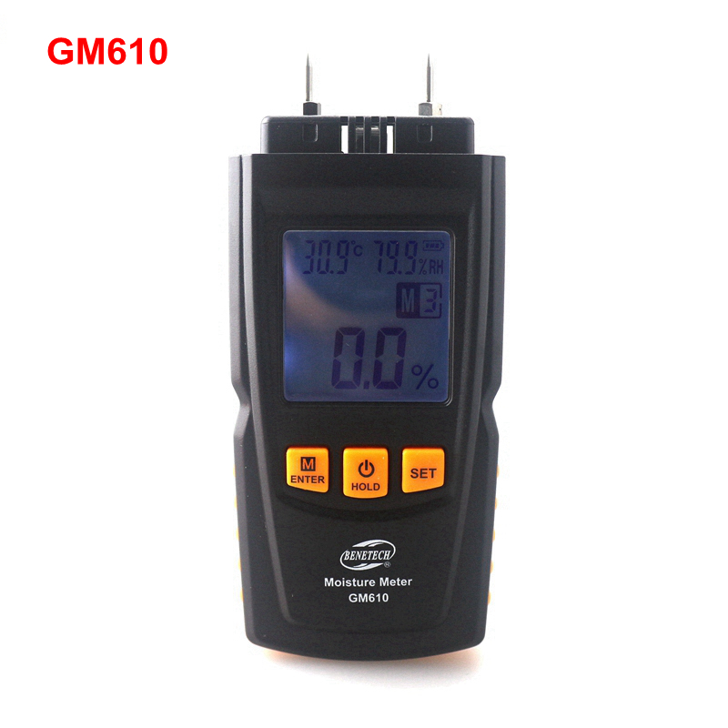 GM610 Handheld Wood Moisture Meter 2~70%with Temperature Humidity Tester -10~60C 20%RH~90%RH LCD Backlight