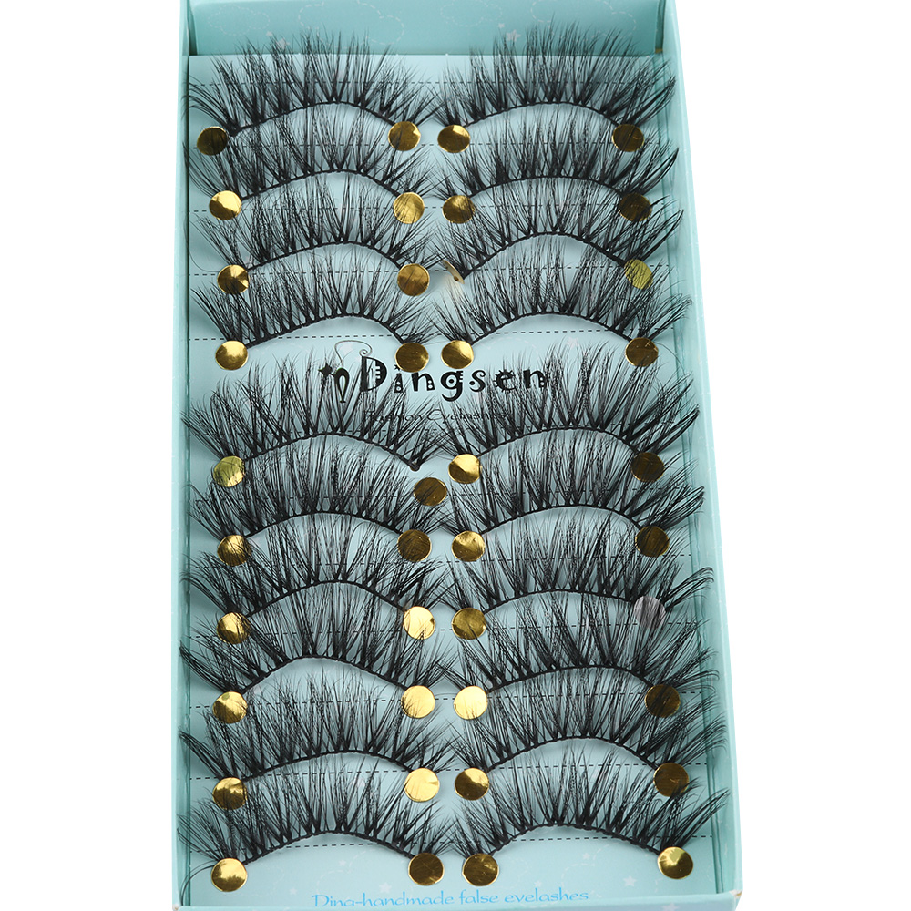 24d2cc436bf 10Pairs 3D Soft Faxu Mink Hair False Eyelashes Crisscross Wispy Fluffy  Black Long Lashes Eye Extension