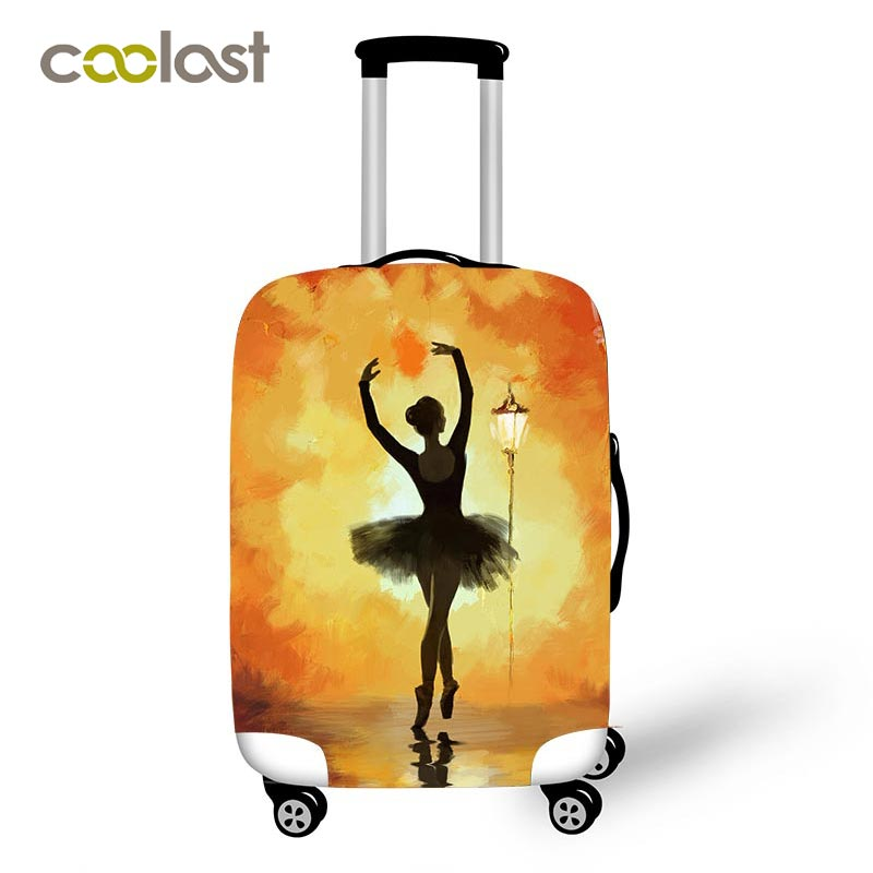Ballet Dancer Painting Luggage Suitcase Protective Cover For Women Girls Travel Suitcase Elastic Covers For 18-32 Inch Case