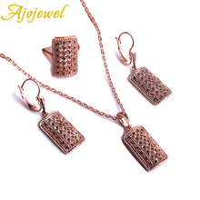 Ajojewel Rose Gold Color Square Shape Full Of Small Green Rhinestones Vintage Necklace Earrings And Ring Set Jewelry March Box