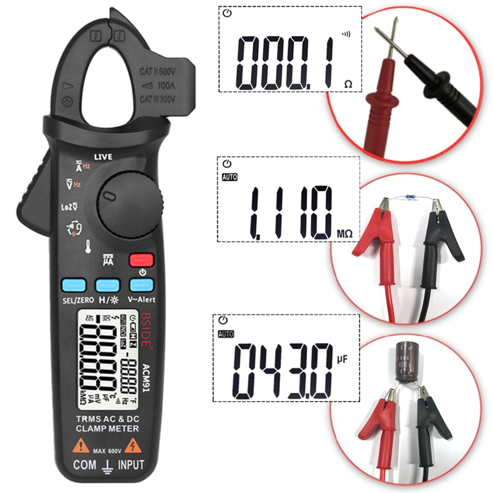 Mini Digital AC/DC Current Clamp Meter With True RMS Measurement And Auto Range Feature For Car Repair 3