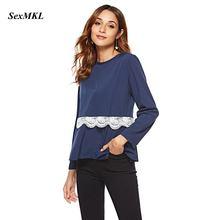 SEXMKL mujeres Blusa de gasa de manga larga 2018 moda Otoño Casual Lace  Patchwork blusas camisa azul Blusa Feminina Ladies Tops 42c394c0e70