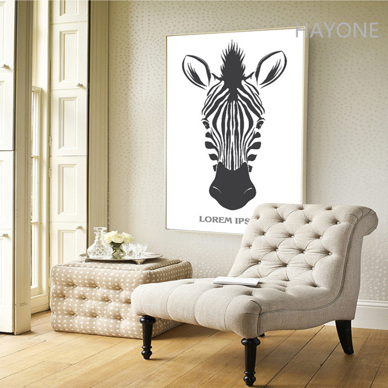 Nordic Black White Art Style Zebra Print Painting Poster Wall Picture For Home Decoration