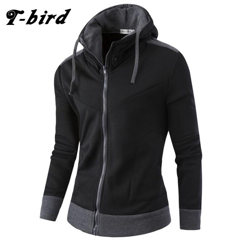 T-bird Sweatshirts Men Hoodies Cardigan High Collar 2017 Brand Male Hoody Hip Hop Autumn Winter Sportswear Hoodie Mens Pullover