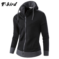 T Bird 2017 New Fashion Hoodies Brand Men Cardigan High Collar Sweatshirt Male Hoody Hip Hop