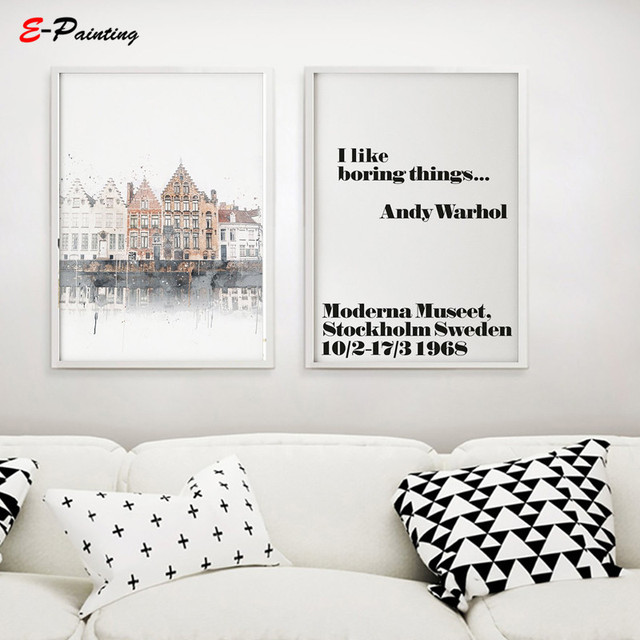 Modern Painting Canvas Brugge Houses Painting Scandi Style Wall Art Poster Living Room Home Decor Christmas Gift Idea