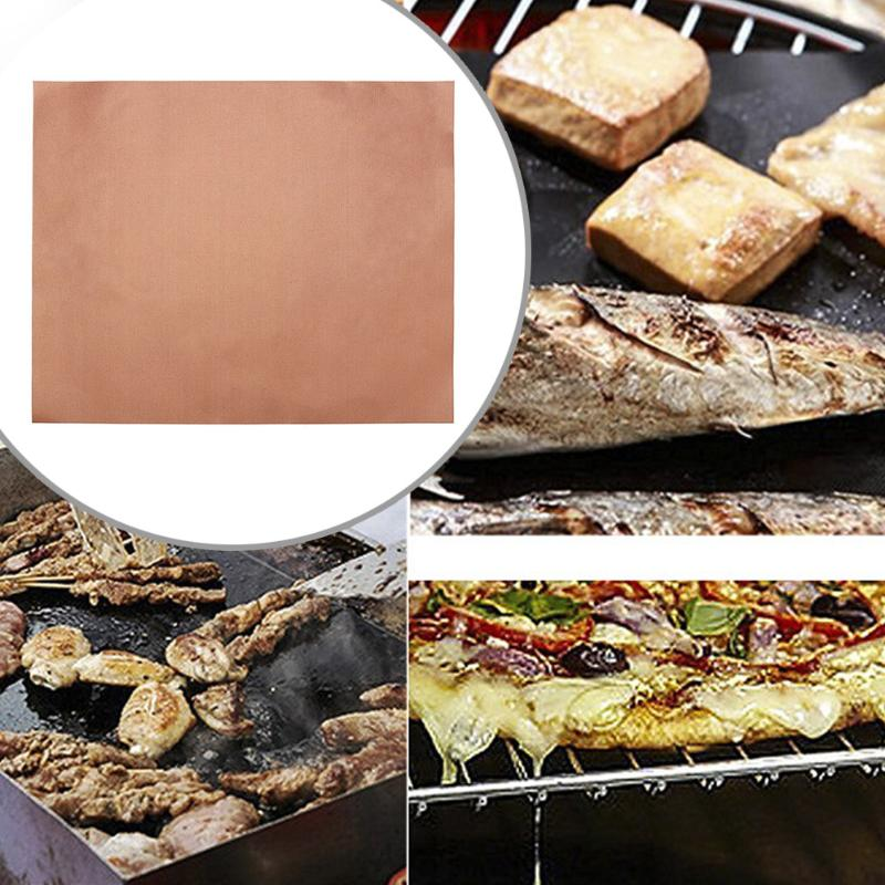Non-stick BBQ Grill Mat Barbecue Baking Liner Reusable Heat Resistant Bake Sheet Outdoor Picnic Cooking Barbecue Kitchen Tool