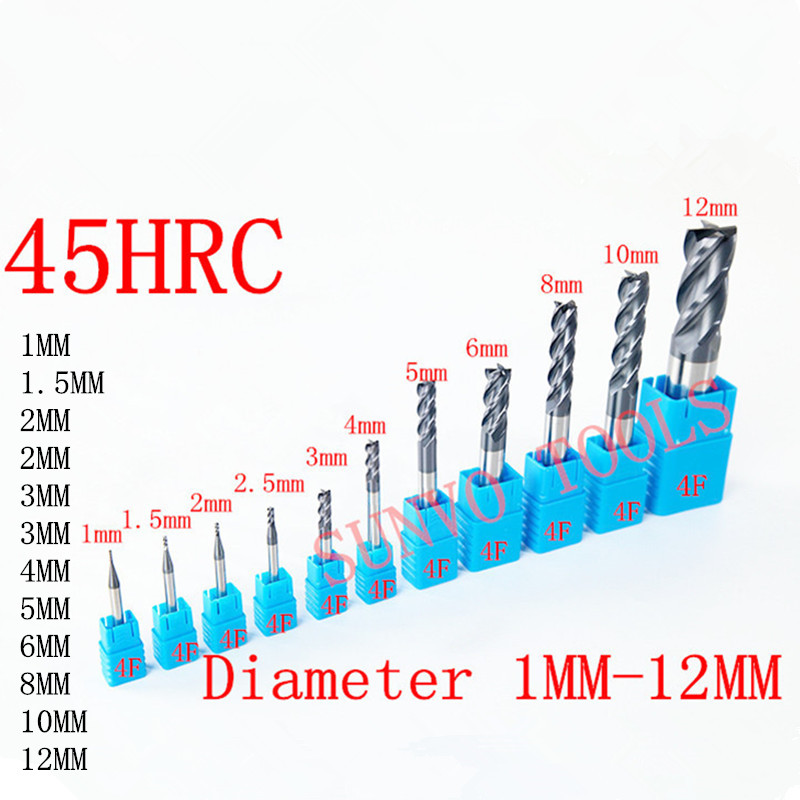 1mm 2mm 3mm 4mm 5mm 6mm 8mm 10mm 2/4 Flutes HRC55 Tungsten Carbide Square Flat End Mills Spiral Bits CNC Endmill Router Bits free shipping 5pcs 3mm hrc60 d3 8 d3 75 four flutes spiral bit milling tools carbide cnc endmill router bits