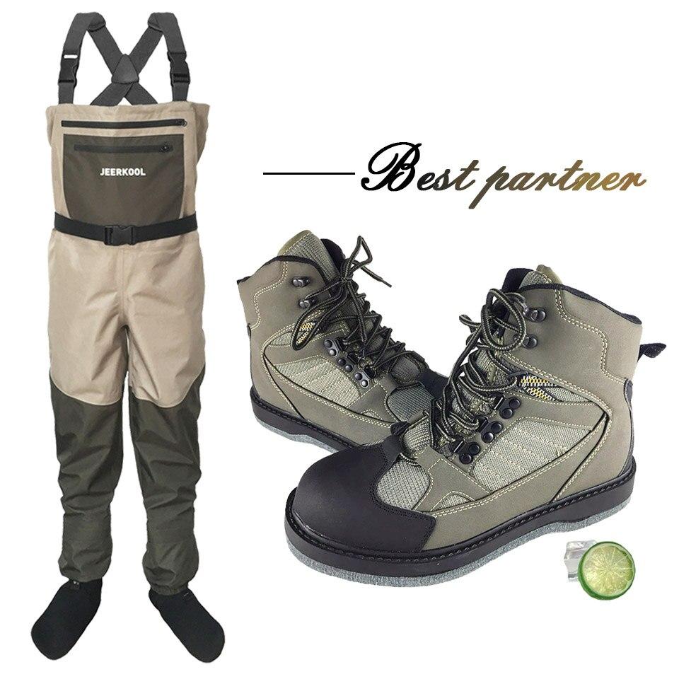 Voar pesca wading sapatos & calças aqua tênis conjunto de roupas respirável rock sports waders feltro sola botas de caça peixe sem deslizamento