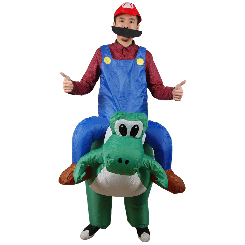 Halloween Mario riding a dinosaur Costumes for Woman Adult Outfits Inflatable Women Funny Mario Riding Cosplay Fancy Dress Up