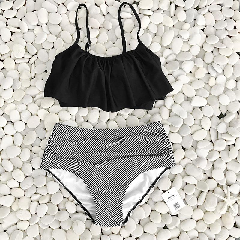 CUPSHE Falbala Push Up Bikini Set Women 2020 Summer Swimsuit Beach Bathing Suit Swimwear Brazilian Biquini Monokini