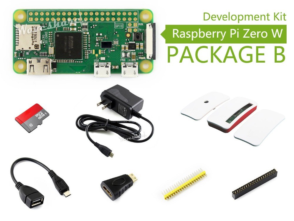 Raspberry Pi Zero W Package B Basic Development Kit Micro SD Card, Power Adapter, Official Case, and Basic Components raspberry pi zero w package e basic development kit 16gb micro sd card power adapter 2 13inch e paper hat and basic components