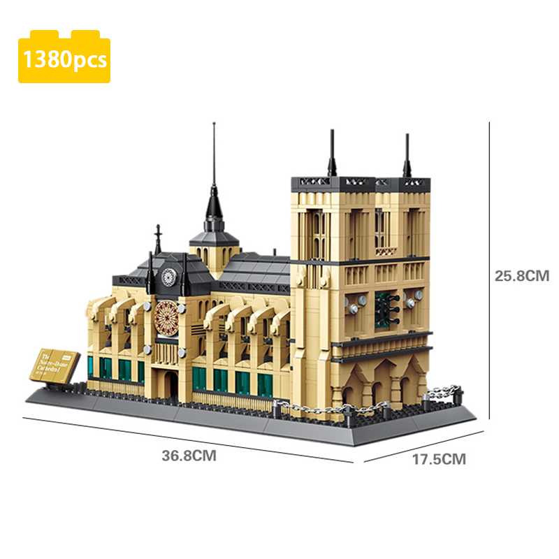 1380pcs Model Bricks Kids Boy Girl Toy Notre Dame De Paris Building Blocks Toys Children Gift Classic Landmark Compatible Lepins gudi new private aircraft passenger airport building blocks bricks boy toy compatible with kids toys for children gift
